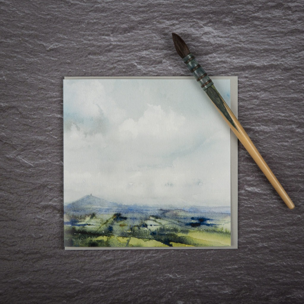 In the shadow of Glastonbury Tor Card